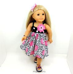 "American Girl 18"" doll swing dress and sandals. So cute. All handmade."