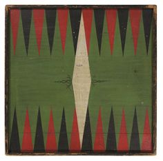 Jeff Bridgman Antiques and American Flags - BACKGAMMON AND CHECKER BOARD WITH GREAT COLORS AND SURFACE, 1870