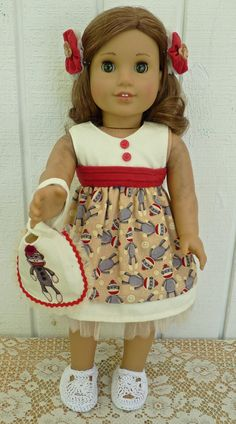 AMERICAN GIRL DOLLS love Sock Monkeys. Dress your American Girl or similar 18 inch doll in this outfit and she'll get oohs and ahhs