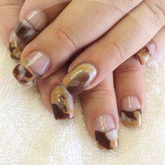 Brown & Gold Acrylic Mani