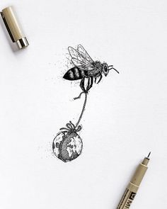 Biology Tattoo, Biology Art, Tattoo Drawings, Body Art Tattoos, Bee Sketch, Black And White Bee, Bee Drawing, Bee Illustration, Cool Small Tattoos
