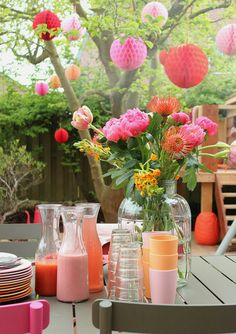 Eating outdoors in the garden
