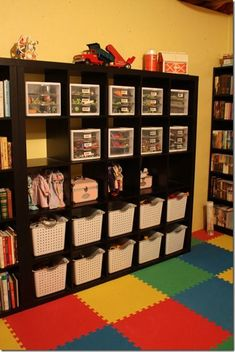 Lego storage- read the full post to see the stages it took to get to this. I don't have enough room for Lego storage- read the full post to see the stages it took to get to this. I don't have enough room for this particular idea, but I love it anyway! Lego Storage, Kids Storage, Storage Ideas, Storage Cubes, Game Storage, Cubby Storage, Storage Solutions, Playroom Organization, Organizing Kids Toys