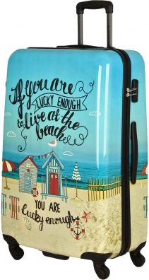 Saxoline Sandy Beach 4-Rad Trolley 77cm If you are lucke enough to live at the beach you are lucky enough Printkoffer Hartschalenkoffer