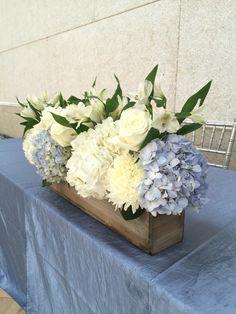 Blue and white centerpiece Blue Hydrangea Centerpieces, Blue Flower Arrangements, Peonies Centerpiece, White Centerpiece, Baby Shower Centerpieces, Centerpiece Decorations, Baby Shower Decorations, Wedding Centerpieces, Wedding Table