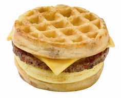 Tried this the other day with syrup....taste like McDonald's Mcgriddle but with less caloreis. Whole wheat waffles, turkey patti, and fried egg with agave sauce and minus the cheese. Overall, it was yummy!