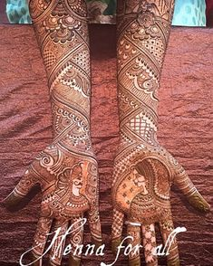 """We love it when henna artists tell a story in their designs. Adds so much value to this tradition of the bride wearing henna on her hands. Mehandhi Designs, Henna Art Designs, Wedding Mehndi Designs, Wedding Henna, Dulhan Mehndi Designs, Best Mehndi Designs, Tattoo Designs, Mehendi, Henna Mehndi"