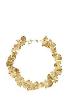 Gold Plated Ginkgo Feather Necklace by Aurelie Bidermann
