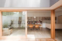 Timber sliding doors // House Eadie by Tribe Studio, Sydney Timber Sliding Doors, Timber Door, Barn Doors, Australian Interior Design, Interior Design Awards, L Shaped Living Room, Plywood Interior, Modern Spaces, Innovation Design