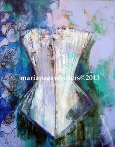 Corset #5 Squeeze Me Valentine, painting by artist Maria Pace-Wynters