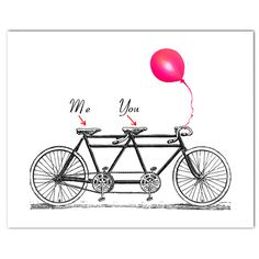 """You and Me on the vintage Tandem Bicycle - ORIGINAL personalized ARTWORK - 8 x 10"""" on Etsy, $24.00"""