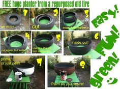 Old tyre Planter for gardens or patios, easy instructions :D