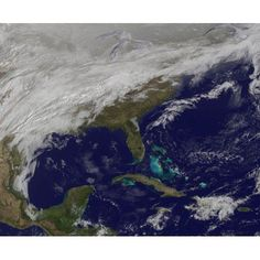Satellite view of a major winter storm over the Mid-Atlantic United States Canvas Art - Stocktrek Images (31 x 26)