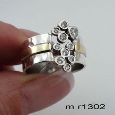 Handcrafted 9k yellow gold & 925 sterling Silver glittery CZ