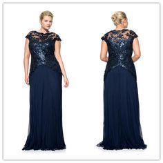 Lantejoulas azul ver através de manga curta chiffon vestido de festa vestido plus size prom vestido plus size vestido 2015 FY-064