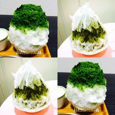 matcha_kakigori: Here is a picture of the real ones I ordered, though both were of matcha flavour. Lucky to have tried 2 of the 5 ice made by the rare natural ice-makers! The ice really is different, and melts in your mouth like soft, fluffy snow!