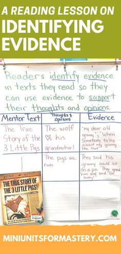 Reading Comprehension Mini Unit for Mastery- Finding Evidence Reading Comprehension Skills, Common Core Curriculum, I Can Statements, Literacy Stations, Mentor Texts, Readers Workshop, Reading Lessons, Anchor Charts, Fourth Grade