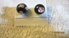SMALL PINK AND BLACK LADY BUG GLASS SURG. STEEL POST STUD EARRINGS   Imaginative_Creations - Jewelry on ArtFire