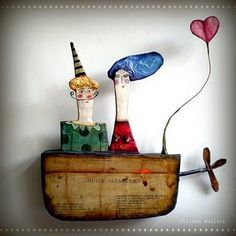Love the whimsy!These lovely papier mache creations are by Julianna Bollini Origami, Papier Diy, Paper Mache Crafts, Paperclay, Assemblage Art, Driftwood Art, Ceramic Art, Altered Art, Sculpture Art