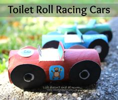 These cool little Toilet Roll Racing Cars are a fun way to recycle toilet paper rolls. I found an image on Pinterest- www.wendycoppola.com Rolling Car, Ways To Recycle, Toilet Paper Roll, Race Cars, Recycling, Rolls, Nursery, Racing, Cool Stuff