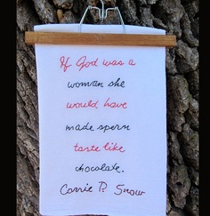 Chocolate Sperm Tea Towel Humor from Carrie P Snow  by peggradyart