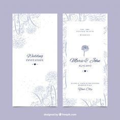 Beautiful wedding invitation with hand-drawn vegetation Free Vector