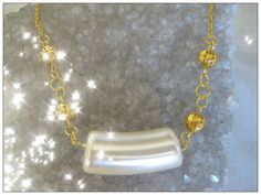 Beautiful Handmade Gold Necklace with Special Light Pearl by IreneDesign2011