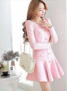 Pink Flare Designer Long Sleeve Bow Designer Dress - Morpheus Boutique