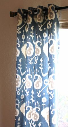 Yacht Blue Cream Java Ikat Curtains Custom Drapes By SewPanache, $160.00