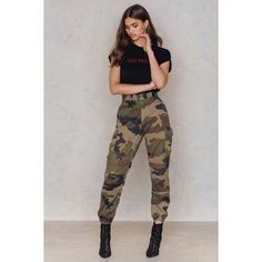 NA-KD Vintage French Army Vintage Ankle Pants ($59) ❤ liked on Polyvore featuring plus size women's fashion, plus size clothing, plus size pants, army green, high waisted pants, elastic ankle pants, army pants, ankle zip jeans and elastic-cuff pants
