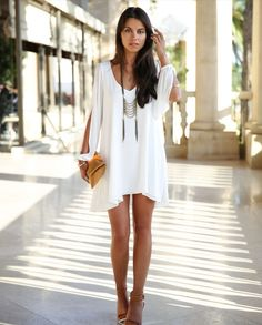 Cute. Stylish V-Neck Long Sleeve Loose-Fitting White Chiffon Dress