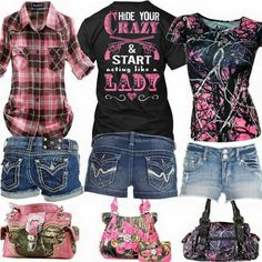 Hide your crazy shirt (middle) muddy girl camo short sleeve shirt (right) p Camo Outfits, Cowgirl Outfits, Pink Outfits, Western Outfits, Summer Outfits, Fashion Outfits, Cowgirl Fashion, Cowgirl Clothing, Buckle Outfits