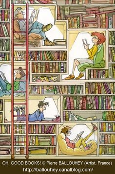 Reading between the books / Leyendo entre libros (autor desconocido) This would be amazing! I Love Books, Books To Read, My Books, Reading Art, I Love Reading, Reading Nooks, Happy Reading, Reading Time, World Of Books
