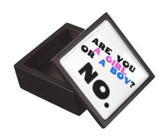 Are you a girl or a boy? No. You can buy this keepsake box here: https://www.zazzle.com/are_you_a_girl_or_a_boy_no_keepsake_box-135849569007339869?rf=238430233265387535 Other merchandise with the same design can be found here: http://www.zazzle.com/blibli_stuff/gifts?cg=196212513412633234 and here: https://blibli.cupsell.com/k/are-you-a-girl-or-a-boy-no #feminism #gender #antigender #box