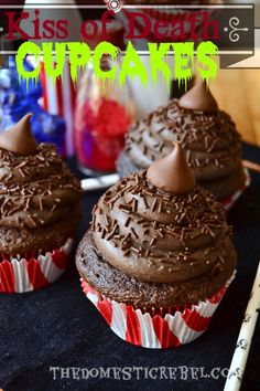 Kiss of Death Cupcakes-- These cupcakes are not for the faint of heart — they are pure, straaaaight up, in your face chocolate cupcakes smothered in dark chocolate frosting and topped with even.more.chocolate.