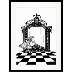Eleanor Stuart - Alice Through The Looking Glass Print (58 BAM) ❤ liked on Polyvore featuring home, home decor, wall art, art, alice in wonderland, backgrounds, disney, wall decor, disney wall art and unframed wall art