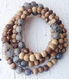 Image of Simple Layering Necklace - Raw Wooden Beads, Labradorites, Metal Accents #100304