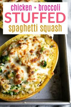 Chicken and Broccoli Stuffed Spaghetti Squash Stuffed Spaghetti Squash filled with juicy chunks of chicken, tender broccoli, and an easy cheesy filling. Veggie Dishes, Vegetable Recipes, Food Dishes, Chicken Recipes, New Recipes, Cooking Recipes, Favorite Recipes, Healthy Recipes, Recipies