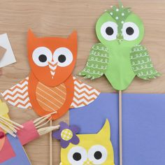How to make paper owls - cute papercrafts - owl puppets