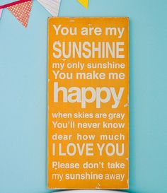 You Are My Sunshine Sign Typography Word Art in Golden Yellow  Etsy-Barn Owl Primitives     $80
