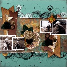 **Swirlydoos** A boy & his dog - Swirlydoos DT Heritage layout created with the June Swirlydoos Kit, Boy's Night Out.