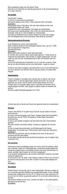 Mijn spreekbeurt gaat over het eiland Texel. Hier ben ik al twee keer ... - Magazine with 4 pages: Mijn spreekbeurt gaat over het eiland Texel. Hier ben ik al twee keer ...