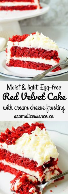 Eggless Red Velvet Cake With Cream Cheese Frosting – cookies/baking - Torten Köstliche Desserts, Chocolate Desserts, Delicious Desserts, Eggless Desserts, Eggless Recipes, Eggless Baking, Summer Desserts, Vegan Recipes, Baking Recipes