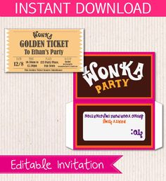 Free Wonka Bar Wrapper Printable Party Invite | Michele's ...