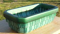 Large 1930 s ART DECO MELROSE australian pottery Green drip glaze TROUGH Vase