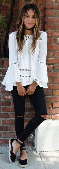 #summer #fashion #outfitideas White Off The Shoulder Top + Black Denim