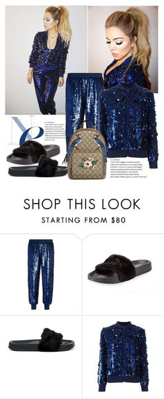 """""""Khloe Kardashian: Ashish Sequin Bomber Jacket & Trousers"""" by isror ❤ liked on Polyvore featuring Ashish, Puma and Gucci"""