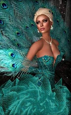 Second life fashion from Amutey DeCuir. None of that pesky reality, gravity or physics stuff to worry about. Peacock Costume, Peacock Dress, Lazuli, Elegant Gloves, Fashion Agency, Gown Skirt, Ballroom Dress, Shades Of Blue, Evening Gowns