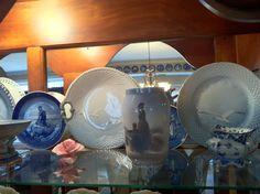 Royal Copenhagen Mermaid Plate; Royal Copenhagen vase; Royal Copenhagen Blue Lace (Full) Sugar; Bing & Grondahl Seagull Plates (collection of Rebekah Myers Dunford)