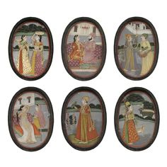 "Ragamala Paintings on Mica in a Lacquer Box. Gouache heightened with gold on mica, Murshidabad, India, ca.  1780, ... The Ragamalas of Murshidabad owe a lot to the naturalistic, European influenced Mughal style. Features such as shading, the use of perspective and style of drapery are all visible here, and point to the court style as opposed to the folk or ""bazaar"" style used for less costly sets."